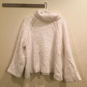 Rachel Roy Fuzzy White Bell Sleeve Sweater